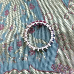 925 Sterling Silver eternity multi color cz ring